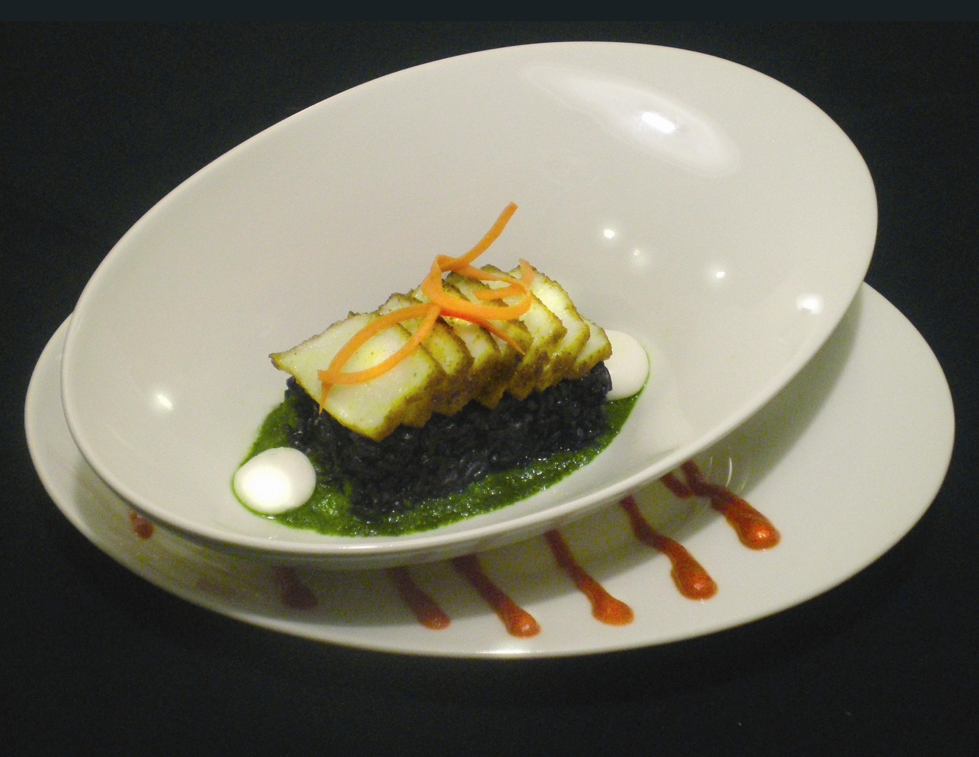 ... Thai black rice, spherified coconut cream, Thai basil puree, Sriracha