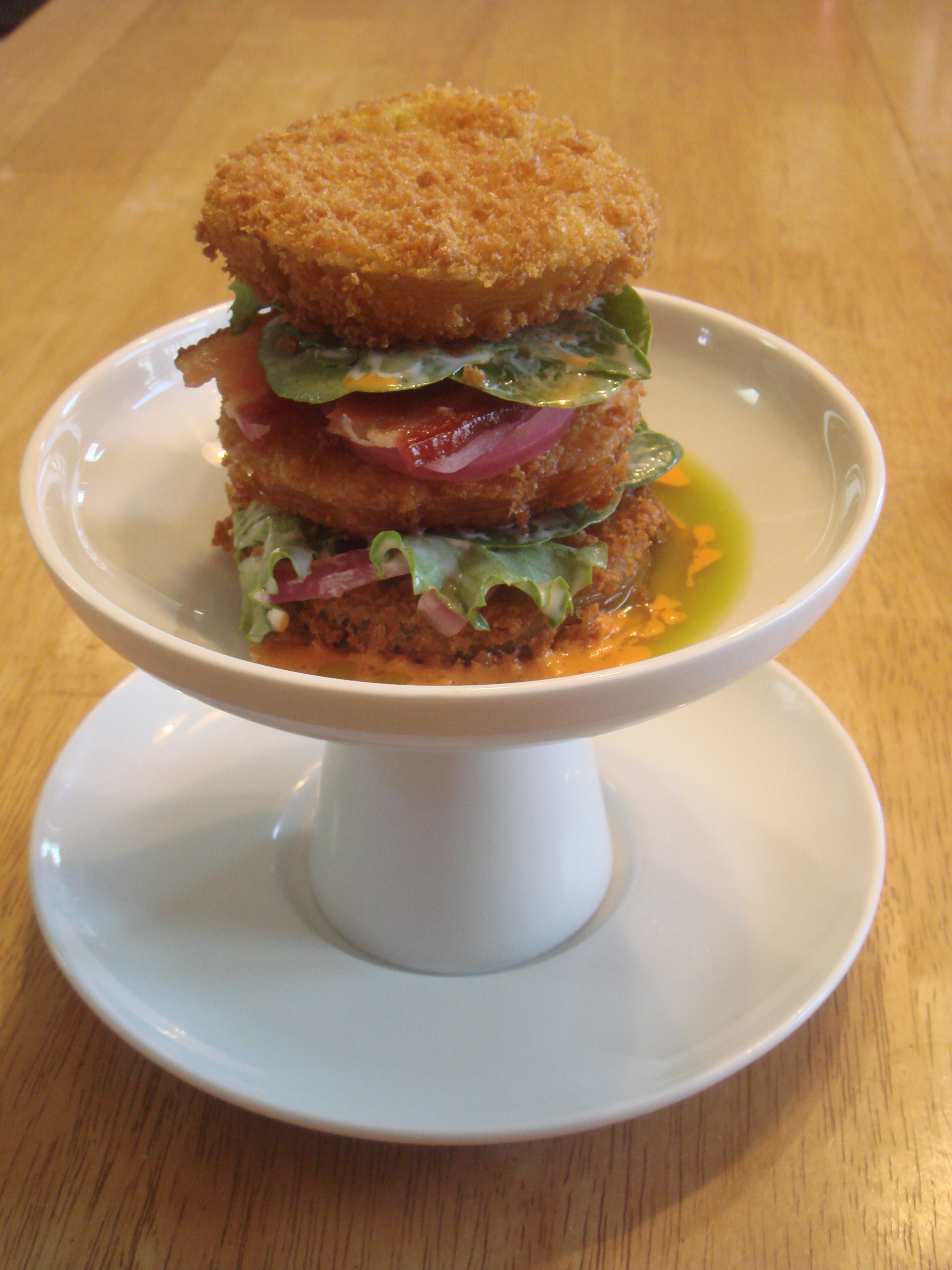 Fried Green Tomato Salad with pickled red onion, pimento coulis, basil ...