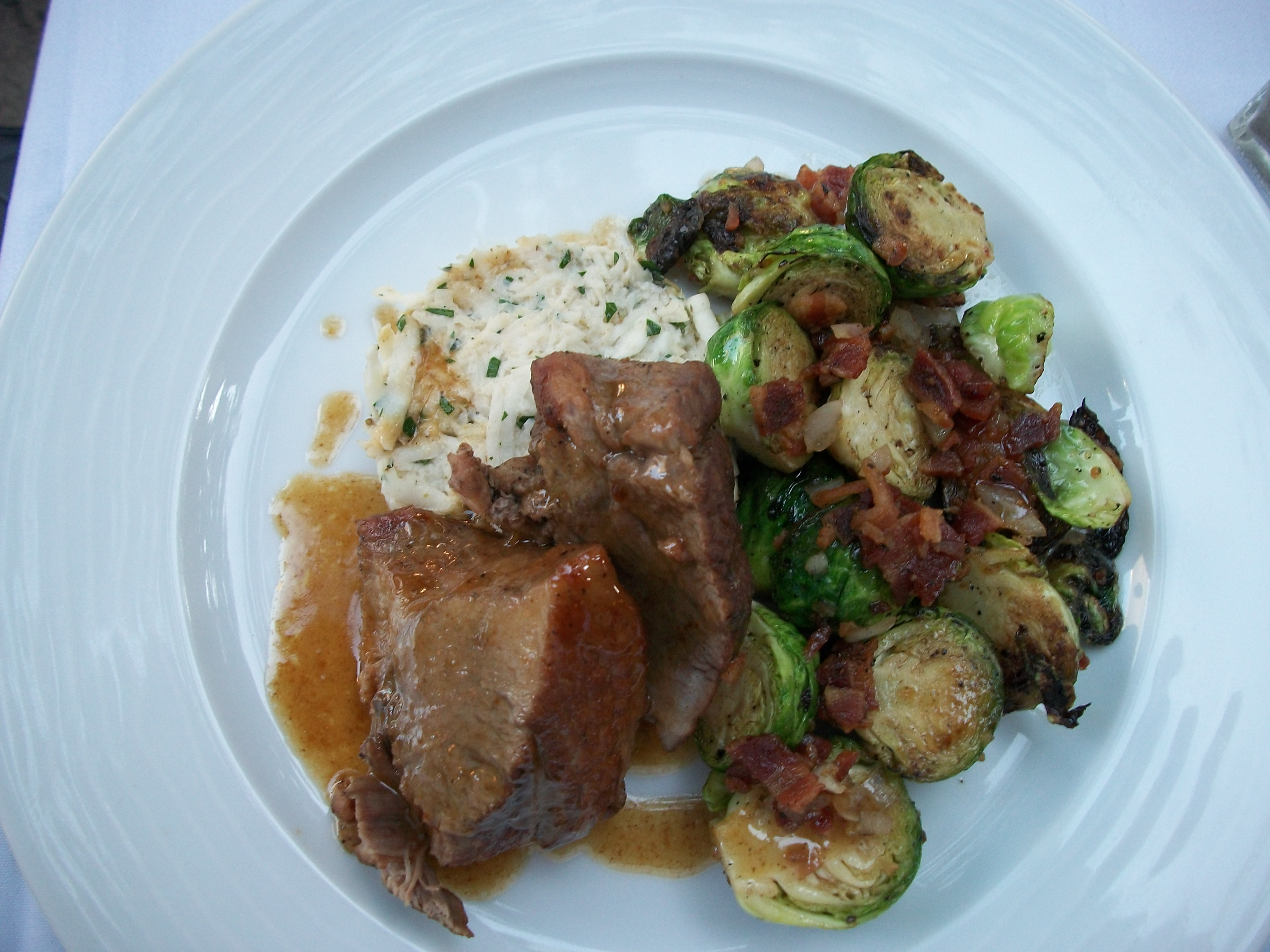 Braised Pork Cushion Meat, roasted Brussels sprouts with bacon and ...