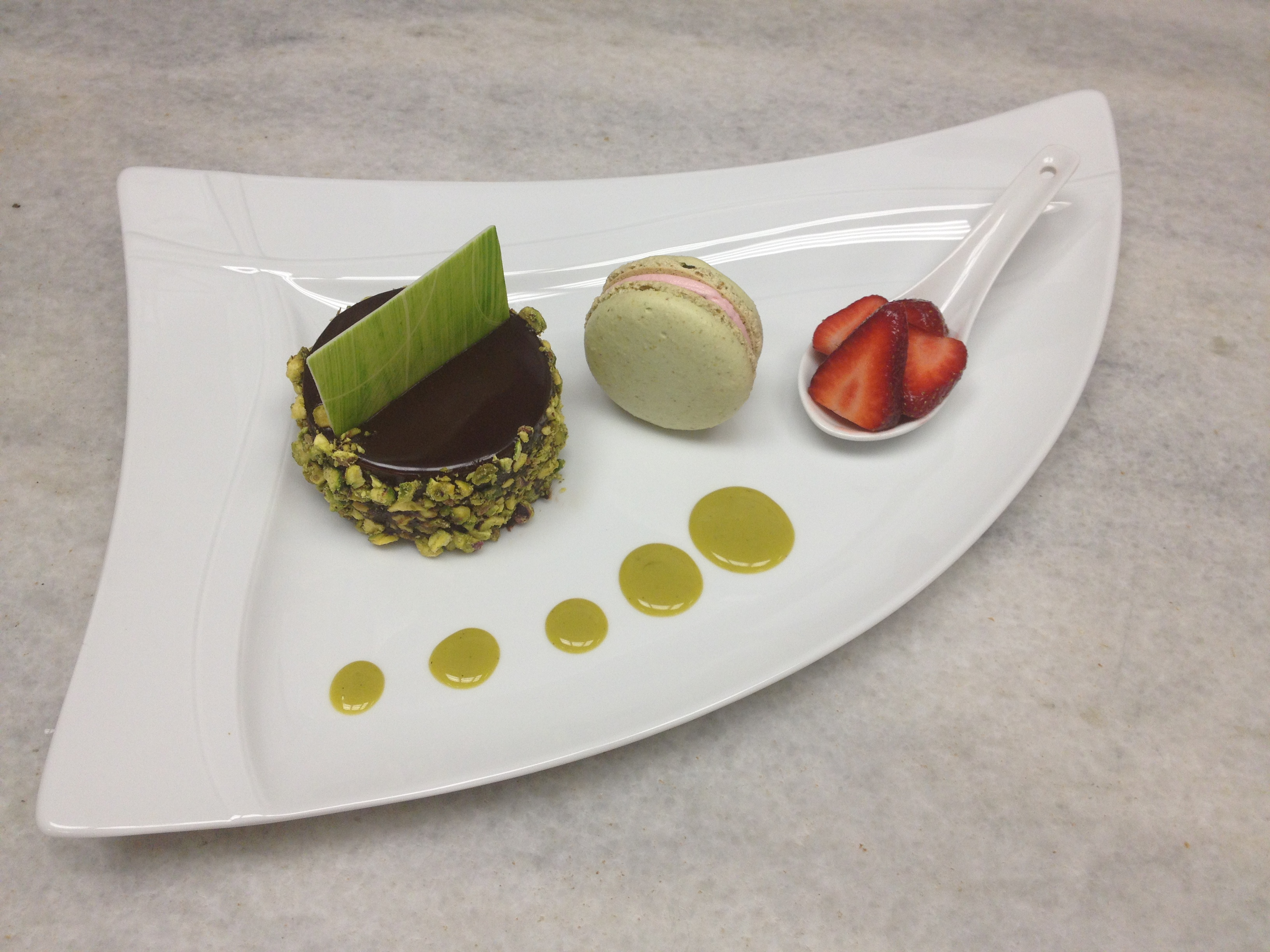 Pistachio Chocolate Mousse Cake, Pistachio Strawberry Macaroon and ...