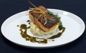 Crisy Seared Salmon over Colcannon with Herb Pesto