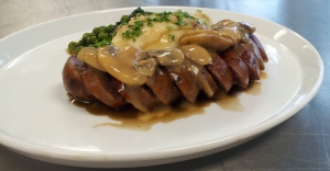 Homemade Beef Summer Sausage with Mushroom Pan Gravy