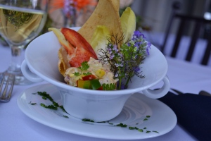 July 13 Exercise - Lobster Roll, Ancho Mayo, Brioche Cracker, Grilled Corn Salsa