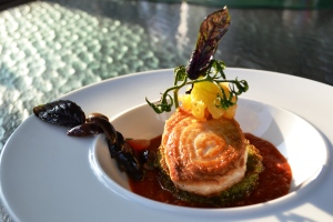 August 2013 - Seared Marlin, Heirloom Tomato Sauce, Spinach Polenta, Olive Relish, Heirloom Fried Green Tomato on the Vine
