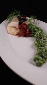 Sept 13 Exercise - Gin and Tonic Poached Mahi, Red Lentil Puree, Earl Grey Sun Dried Tomato Compote, Minted Creamed Peas, Crispy Olives (2)