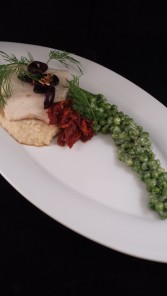 Sept 13 Exercise - Gin and Tonic Poached Mahi, Red Lentil Puree, Earl Grey Sun Dried Tomato Compote, Minted Creamed Peas, Crispy Olives