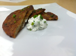 Potatoes pancakes with chive creme fraiche