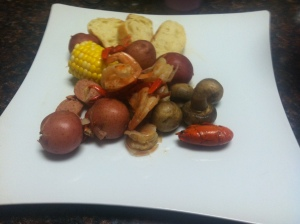 Traditional shrimp and crawfish boil