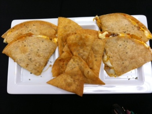 Chicken fajita Quesadilla and tortilla chips with cayenne and cilantro dusting (Montell Roberts)