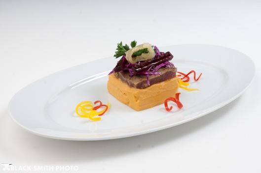 Braised potato and skirt steak